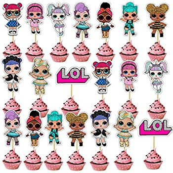 Shanfaa 20 Pieces Lol Double Face Gateau Topper Cupcake Toppers