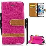 iPhone SE HandyHülle,BtDuck Denim Leder Tasche Leder Stand Brieftasche Damen Weich Silikon Back Cover Hülle mit Magnetverschluss Kartenfach Schutzhülle Handyhülle für iPhone 5S/SE/5 Heiß Rosa