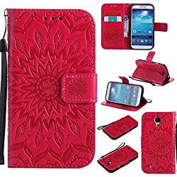BoxTii Coque Galaxy S4, Etui en Cuir de Première Qualité [avec Gratuit Protection D'écran en Verre Trempé], Housse Coque pour Samsung Galaxy S4 (#5 Rouge)