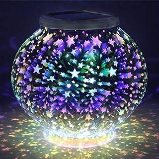 AntEuro Solar 3D Nachtlichter, EONANT 3D Solar Outdoor Tischlampe Mosaik Nachtlicht Farbwechsel Mosaik Solar Glas Garten Lichter Wasserdicht für Outdoor Dekorationen
