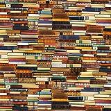 Fabulous Fabrics Dekostoff Baumwolle 2 – Bücherregal — Meterware ab 0,5m — zum Nähen von Kissen und Tagesdecken, Tischdekorationen und Taschen