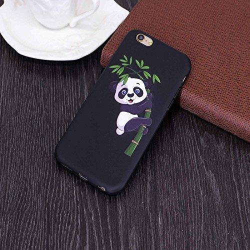 iPhone 6 Plus 5,5Zoll Hülle,iPhone 6s Plus Schutzhülle,TOYYM Ultra Dünn Rubber Soft Flex Silikon Black Matte Bumper TPU Case Handyhülle,Kreativ Niedlich Muster Design Rubber Schutz Handy Backcover Tas Panda