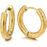 2 Colore Oro Scanalato Cerchio Orecchini a Cerchio, Orecchini da Uomo Donna, Acciaio Inossidabile