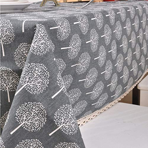 Luckyzc Cotton and Linen Tablecloth, Rectangular Simple and Dirty Table Dining Table Party Decoration, Dustproof and Antifouling, 140x180cm