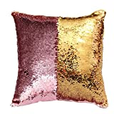 Hunpta DIY-Two Tone Glitzer Pailletten Wurfkissen dekorative Kissen Fall Sofa-Car-Cover (H)