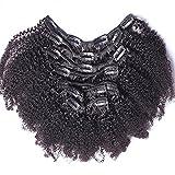 Ugeat 14 Pouces Africa Kinky Curly Boucles Crepus Tete Pleins Clip Extension Cheveux Naturel Bresilien Remy Extensions Tissage Noirs Naturel 1b# 120g