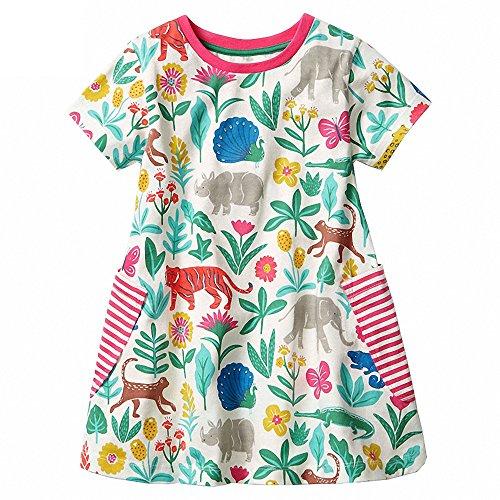 nder Baby Mädchen Sommerkleid schöne Jumper Rock Blau Gestreifte Blume Party Kleid Casual Strand Kleider 2T-7T (Hübscher Tanz Kostüme Für Mädchen)