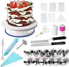 Klion Tortenplatte drehbar Tortenständer Kuchen Drehteller Cake Decorating Turntable mit 2 Stücke Winkelpalette Set, 6 Stücke Icing Smoother, für Backen Gebäck, Zuckerguss, Mustern 28 x 7cm Weiß