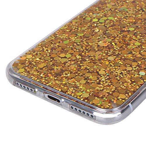 iPhone X Hülle, Asnlove Flexible Gel TPU Silikon Bling Glitzer Glänzende Schutzhülle Bumper Handyhülle Schutzfolie für Apple iPhone 10 / iPhone X 5.8 Zoll 2017 - Silber Schwarz