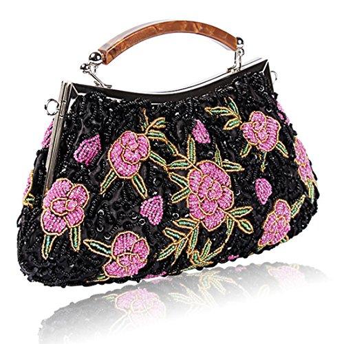 YYW Vintage Clutch Bag, Poschette giorno donna black1