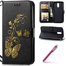 Wallet Case with Strap for MOTO G4/G4 Plus,MOTO G4/G4 Plus Leather Case,Hpory élégant Vintage Bronzing Papillon Motif With Lanyard Strap PU Cuir Case BookStyle Folio Support PU Leather Wallet Case with Magnetic Closure and Stand Function and Credit Card Holder Multifonction de Shell en Soft Silicone Bumber Protector Étui Anti Poussière Resistance Anti-rayures et Shockproof Couverture Etui Coquille pour MOTO G4/G4 Plus + 1 x Hpory Stylus-(Noir)