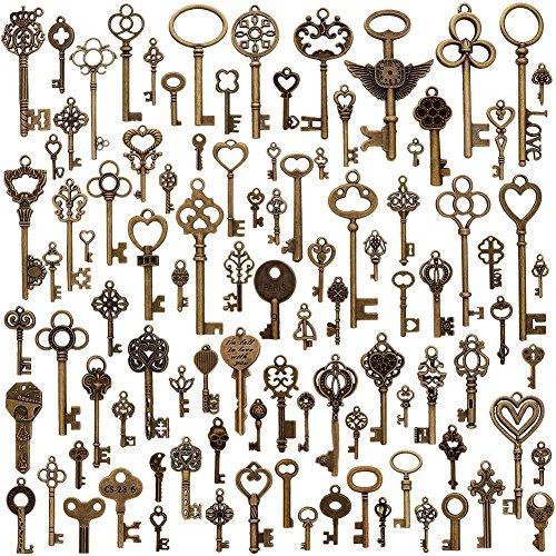 juanya 100Stücke Vintage Antik Bronze Mix Skelett Schlüssel Charms Anhänger DIY für Schmuckherstellung und Handwerk