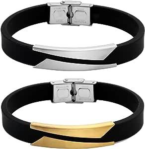 PiercingJ Paare Armband Set 2x Edelstahl Gummi Kautschuk Geometrie Armband Armreifen Manschette für Herren Damen Punk Biker mit 1x Geschenk-box, silber/gold/schwarz