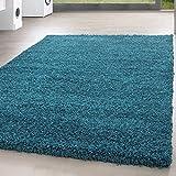 *Teppich* für Wohnzimmer günstig hochflor Shaggy Teppich mit verschiedenen Farben und Größen* Teppiche werden mit 100% PP Headset hergestellt. Gesamthöhe des Teppichs circa 30 mm. , Farbe:Türkis, Größe:140x200 cm