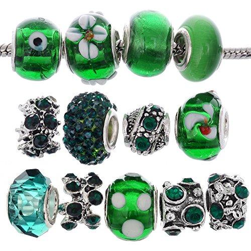 Rubyca perline di vetro di Murano a lume ciondolo tibetano cristallo braccialetti europei mix assortimento
