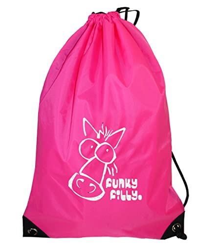 42506b35788 Funky Filly Pony Girls Silver Horse Drawstring Bag Pink Size 45 x 34 cms   Amazon.co.uk  Clothing