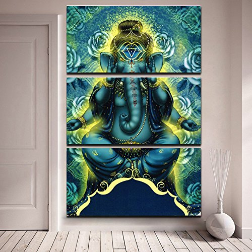 SoulSpaze Limited Edition Ganesha Modern Poster 3er Leinwand Malen mit Rahmen S-2