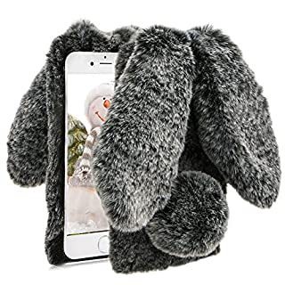Herzzer Black Soft Case for iPhone 7 Plus,Diamond Crystal Furry Cover for iPhone 8 Plus, Luxury Cartoon Rabbit Ear Design Fluffy Hairy Silicone Rubber Protective Case