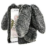 Herzzer Fourrure Noir Paillette Coque pour iPhone 7 Plus,iPhone 8 Plus Hiver Chaud...