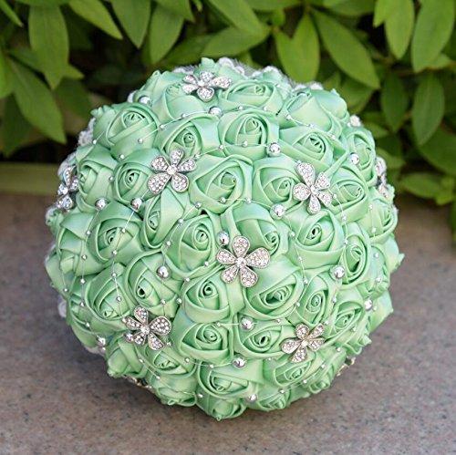 Perlée Fleur Style Fleurs Artificielles En Soie Fleurs Cristal Roses Demoiselle D'honneur De Mariage Bouquet De Mariée De Mariage Cadeau ( Color : Apple Green )