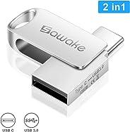 USB C Stick 128GB, SAWAKE USB Stick USB A, Mini Memory Stick mit Schlüsselring, USB Speicherstick, Wasserdicht OTG Stick für