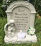 Special Mum und Dad Grabe Gedenktafel Engel betend Teelicht