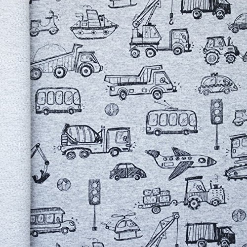 French Terry Verkehr in grau (Breite 1,50 Meter) - in gewünschter Abmessung bestellen - ab 10 cm