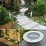 Hongfei Solar Power 3 LED Bodeneinbaustrahler PathWay Garden Park Terrassendielen Landschaftsleuchte Weiß 1200mA