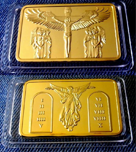 Jesus Christus Goldbarren Kreuzigung 10 Gebote 999 verg. 1 oz (Goldbarren 1 Oz)