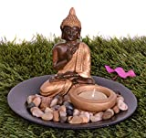 #6: Pindia Meditating Buddha Polyresin Tea Light Holder (15 cm x 15 cm x 12 cm, Brown)