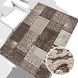 carpet city Teppich Modern Desinger 3D Handcarved Glanzfaser Acryl Glitzer Pralines Patchwork Beige Braun 120x170 cm