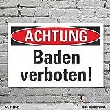 Schild Achtung Schwimmen Baden verboten Hinweisschild 3 mm Alu-Verbund 600 x 400 mm