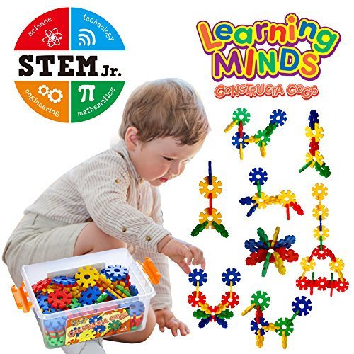 Learning Minds Constructa Cogs 100 Piece STEM Toys for Kids by Interlocking Plastic Disc Set|Next Level Building Blocks Creative Flakes Toy Set|Educational and Fun Activities for Ages 3 and Up