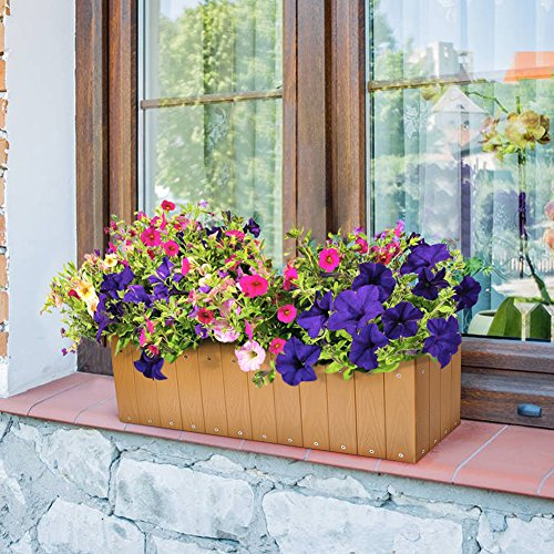 Large Rectangle Outdoor Garden Trough Planter Box, Balcony Vegetable Herb Plant Holder Display Container, Wood-plastic Flower Raised Bed, 60.6l X 31.8w X 20h (Cm)