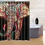 RISHIL WORLD 180x180cm Waterproof Colorful Elephant Polyester Shower Curtain Bathroom Decor with 12 Hooks Single Item.