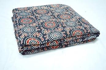Rajcrafts Multi Print Fabric Cotton Dress Making 2.5 Meter Jaipuri Handmade Dress Running Fabric… Beige