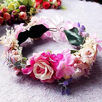 Couronne de fleurs Mariage nuptiale Podium de défilé de danse en soirée Photographie de mariage en bord de mer Accessoires de modélisation Grande couronne de fleurs tête de fleur