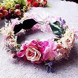 &Coiffe de corolle Couronne de fleurs Mariage nuptiale Podium de défilé de danse en soirée Photographie de mariage en bord de mer Accessoires de modélisation Grande couronne de fleurs tête de fleur ( Couleur : A )