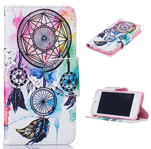 Price comparison product image Apple iPod Touch 5th / 6th Flip Wallet Case [with Free Tempered Glass Screen Protector] - iFeeker Luxury Cute Pattern Soft PU Wallet Magnetic Closure Design Protective Case Cover with Stand Function and Card Holders for Apple Apple iPod Touch 5th / 6th - Dreamcatcher