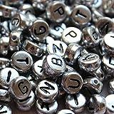 300 runde Alphabet Buchstaben Metal Perlen von Curtzy TM