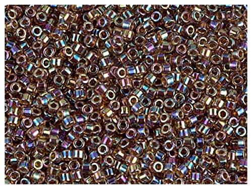 10gr 11/0 Miyuki® Delica® - Japanische Glasperlen mit einem Durchmesser von 1,6 mm mit einem Loch von 0,8 mm, Root Beer Amber AB (Transparent Wine/Blue/Gold)