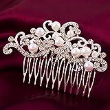 Miya 1 meraviglioso pettinino con fiori e foglie in perle e strass, per sposa/matrimonio
