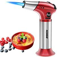 Blow Torch, Kollea Butane Kitchen Lighter, Adjustable Flame [MAX 2400℉] with Safety Lock, Refillable Cooking Blowtorch for BBQ, Creme Brûlée, Baking, DIY Soldering
