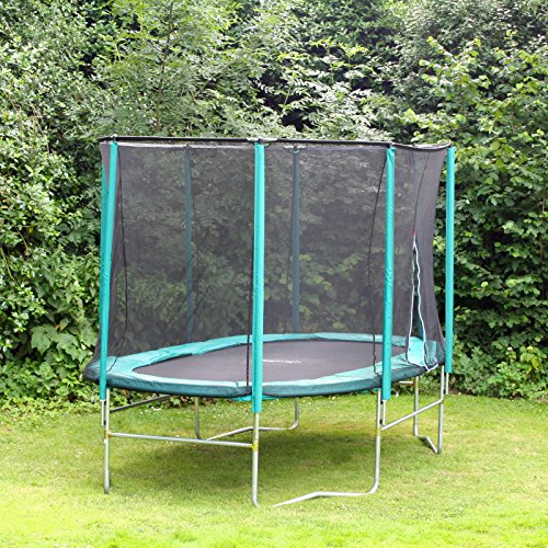 Skyhigh 8 Foot x 14 Foot Oval Trampoline with Safety Enclosure. Superior and Spacious Bounce. Doesn't Pull User into Centre of Mat.