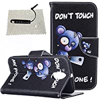 Moto G4 Case Black,Moto G4 Wallet Case,Moto G4 Flip Cover,TOCASO Book Style Slim Bear Pattern PU Leather Soft Silicone Inner Back Cover Full Body protection Creactive Funny Design Holster with Build-in Stand Up View Function ID Credit Card Slots Holder Po