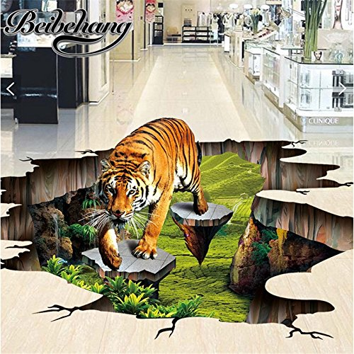 Mznm Custom Photo 3D Flooring Mural Self - Adhesion Wall Sticker 3 D Tiger Outdoors To Draw Painting 3D Murals Wallpaper-120X100Cm