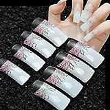 echiq 24Long Square French Falsche Nägel weiß mit pink Blumen mit Weiß Glitzer Grün Licht Fake Nail Full-Cover Tipps