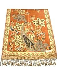 Orange Azad Design 2 Ply Châle Réversible Pashmina Écharpe Wrap Étole Throw CJ  Apparel 2ef8ad2270c