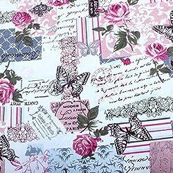 Edealing 1 Medidor NUEVO Vintage Chic francés Rose de la mariposa de algodón de lino de la tela RETRO Oficios