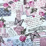 Edealing 1 Meter NEUE Weinlese-Chic Französisch Rose Schmetterling Baumwollleinengewebe RETRO Crafts